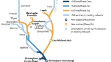 Map showing the HS2 route