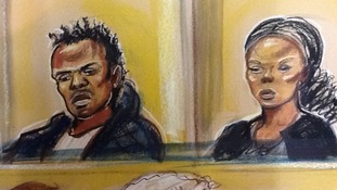 The pair charged with the murder of Kristy Bamu in a court sketch