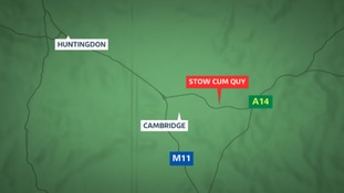 The collision closed the A14 westbound for several hours.