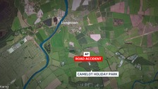 The HGV driver died after his vehicle crossed over the A7 road near Camelot Holiday Park