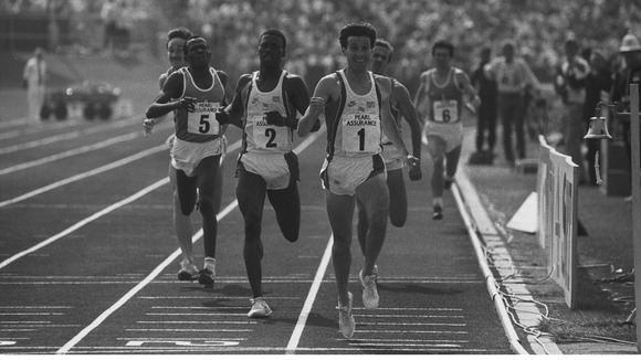 Sebastian Coe wins the 800 metres at the three-way international athletic match in Portsmouth, 1988