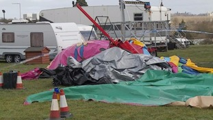 The bouncy castle was been cordoned off for investigators following the incident