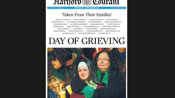 The front page of the Hartford Courant 16 December 2012