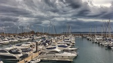 Clouds looming over Jersey's Elizabeth Marina yesterday