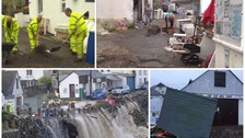 Recovery operation underway after flash flooding hits Cornish village