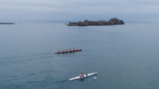 Competitors training for the event in front of Jersey's Elizabeth Castle.