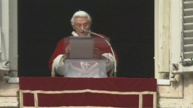 Pope Benedict XVI addressing the pilgrims in St Peter's Square, Vatican City