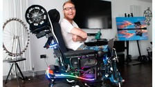 Lee Kinsberry in his customised electric wheelchair
