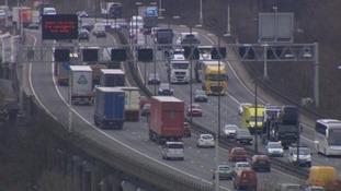 Traffic on the M6 in Birmingham