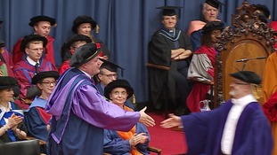 Ed Balls receives an honorary degree from the University of East Anglia.
