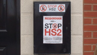 An anti-HS2 campaign poster displayed outside a house on the new Shimmer estate in Mexborough, South Yorkshire.