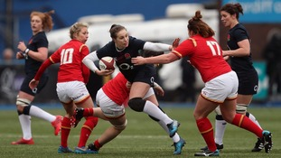 Wales in action against England during a Women's 6 Nations match