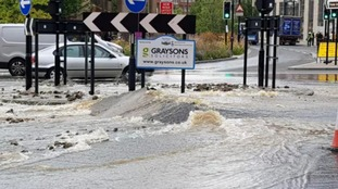Burst water main bursts through road on West Bar Roundabout in Sheffield
