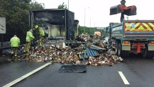 Lorry containing chocolate bars catches fire