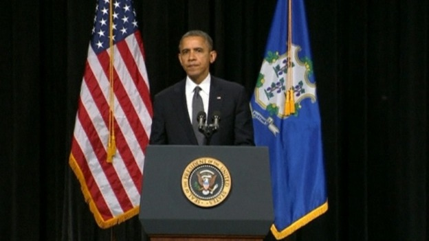 President Obama speaking at the vigil in Newtown
