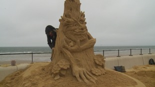The Redcar sand sculptures in 2016.
