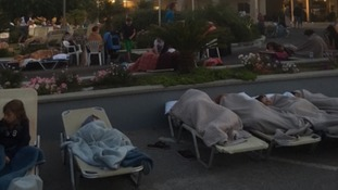 The family slept outside their hotel on Kos