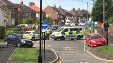 Police guard the scene in Shirecliffe in Sheffield