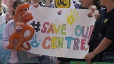 Protest over proposed closures of children's centres