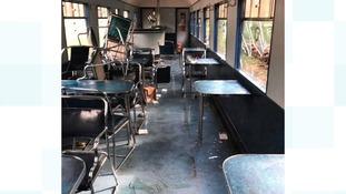 Vintage railway carriages vandalised