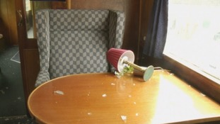 Damage left behind by the vandals.