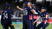 England's Anya Shrubsole celebrates the wicket of India's Rajeshwari Gayakwad