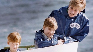 Harry and William with their mother in 1991.