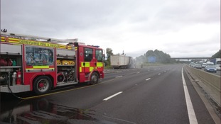 A fire has broke out on a lorry on the M1.