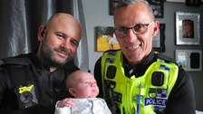 Constables Lee Watkinson and Stuart Lupton rushed to get Charlotte Finney to hospital on time to deliver little Odin.
