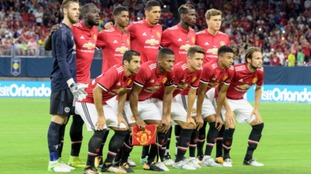 Manchester United Starting XI during a match between Manchester United and Manchester City in the 2017 International Champions Cup