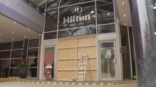 Driver arrested after crashing through Hilton Hotel in Leeds