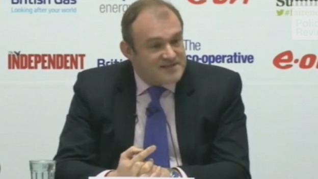 Energy Secretary Ed Davey pictured speaking today