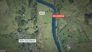 The A712 road into New Galloway has been closed and diversions set up