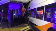 Two died when a bus crashed into a supermarket in Coventry