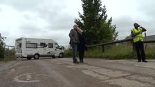 Martin McKeague blocks the entrance to the landfill site at Milton.