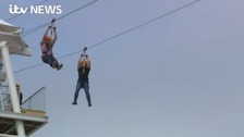 Thrillseekers try out Brighton's new zip wire