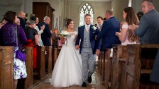 Amputee Shaun walks down the aisle a year after crash