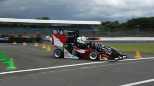 Racing car in action