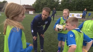 Gareth Southgate takes children's coaching session at Leeds primary school