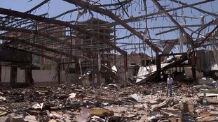 ITV News previously filmed the wreckage of the bombing of a funeral in the Yemeni capital Sanaa.