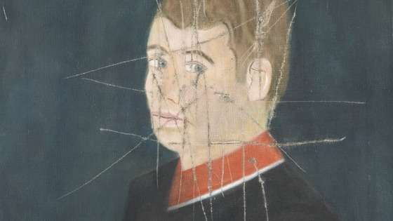 The self-portrait was later restored with the slash marks still visible