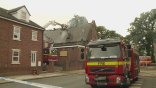 Firefighters put out the fire at the Ukranian Club in Carlisle on 14 July