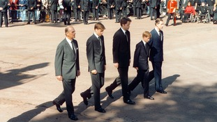 Earl Spencer (centre) walks alongside his nephews at Princess Diana's funeral.