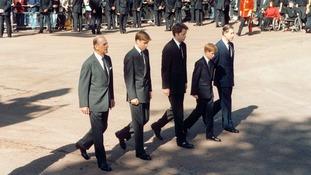 Earl Spencer (centre) walks alongside his nephews at Princess Diana's funeral.