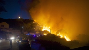 The forest fires struck the French island of Corsica on Monday.