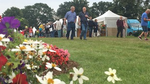 Visitors checking out the displays at Sandringham Flower Show.