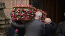 Saffie's coffin adorned with roses is taken into Manchester Cathedral