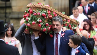 Saffie's father Andrew Roussos and brother Xander led the coffin out of Manchester Cathedral.