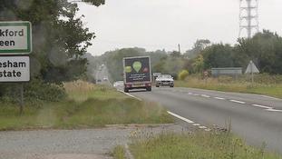The crash happened near Mendlesham on Tuesday morning.