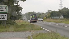 The crash happened near Mendlesham on Tuesday morning.